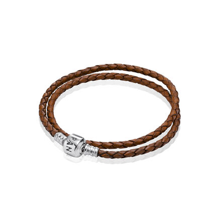Brown Braided Double-Leather Charm Bracelet