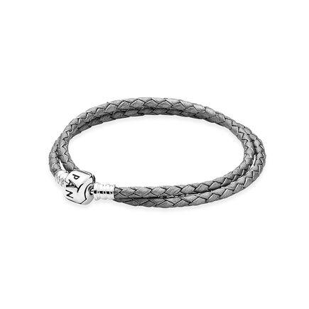Silver-Grey Braided Double-Leather Charm Bracelet