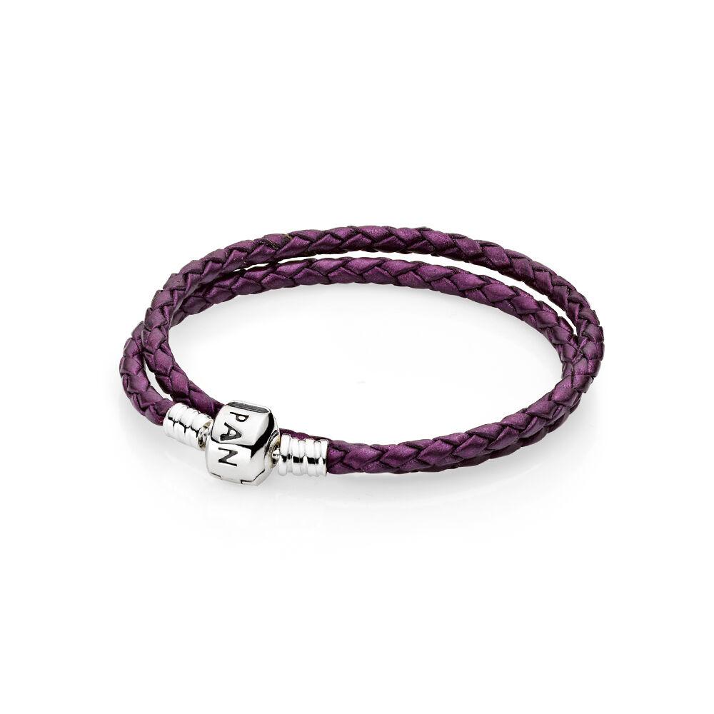 purple braided doubleleather charm bracelet pandora jewel
