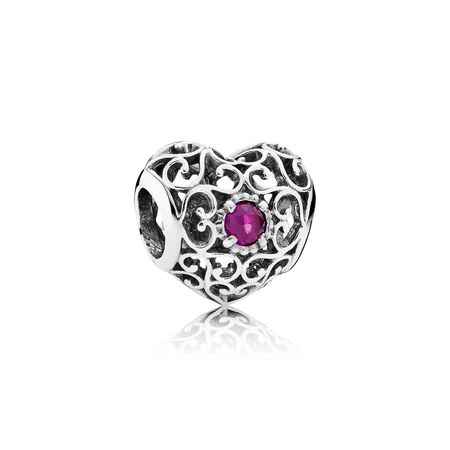 July Signature Heart, Synthetic Ruby