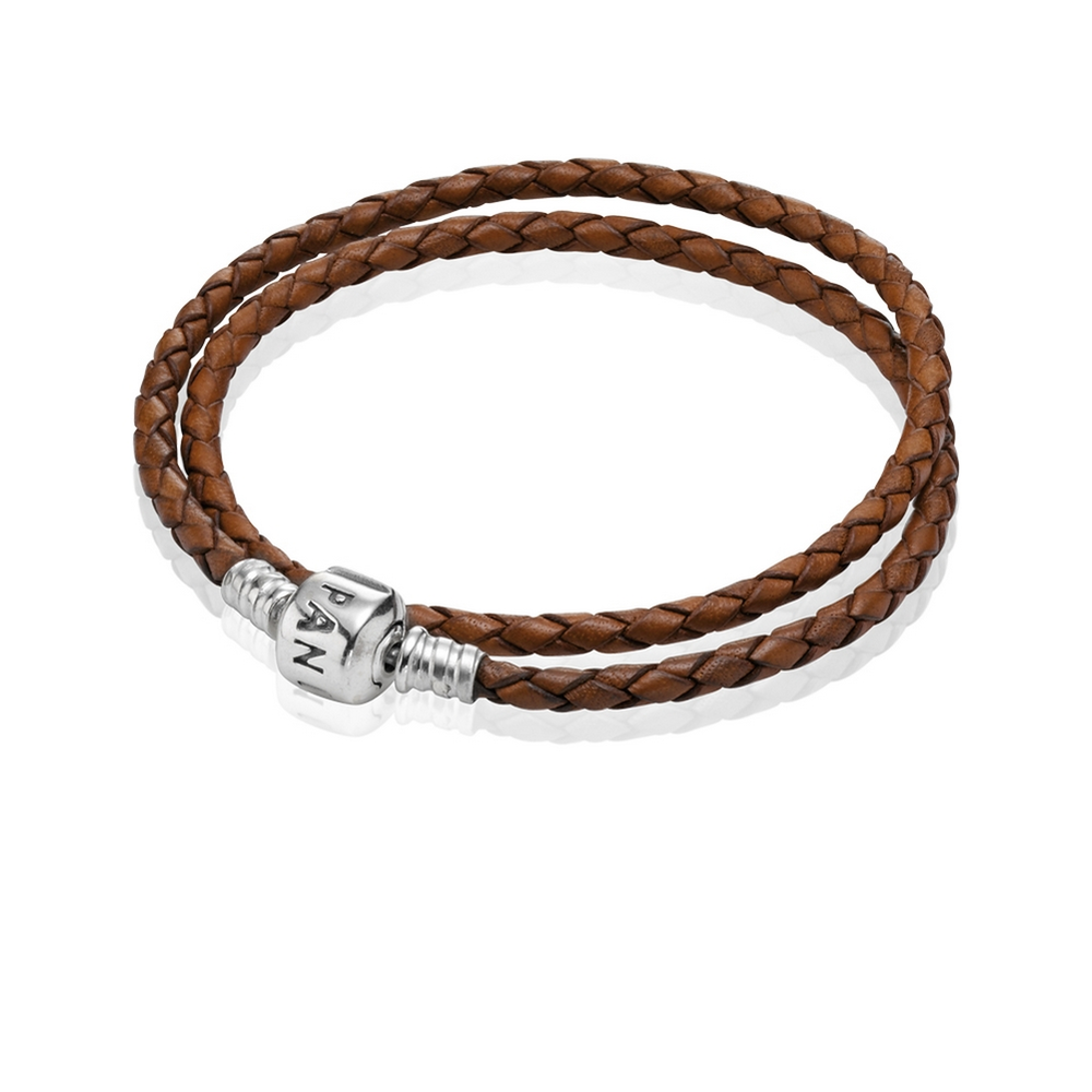 Leather Bracelet With Charms: Brown Braided Double-Leather Charm Bracelet