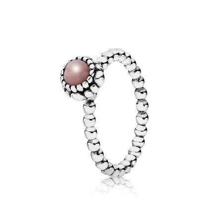 Silver ring, birthstone-October, pink opal