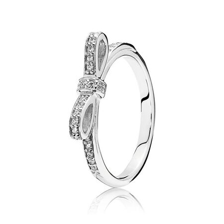 Sparkling Bow Stackable Ring, Clear CZ