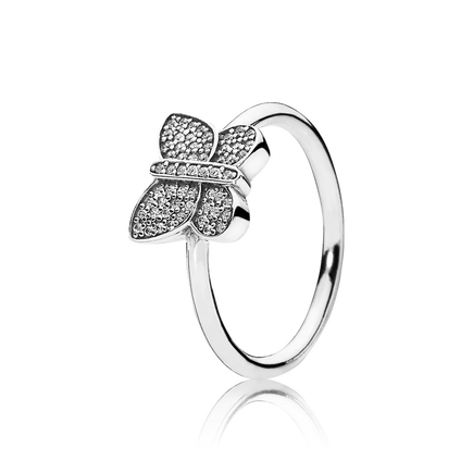 Sparkling Butterfly Ring, Clear CZ