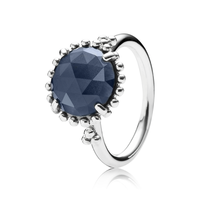 Midnight Star Stackable Ring, Blue Crystal