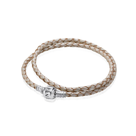 Pearl-Color Braided Double-Leather Charm Bracelet