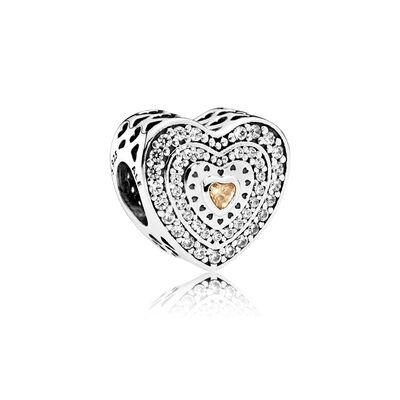 Lavish Heart, Fancy-Colored & Clear CZ