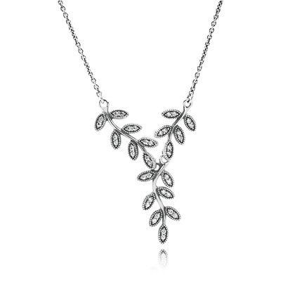 Sparkling Leaves Pendant Necklace, Clear CZ