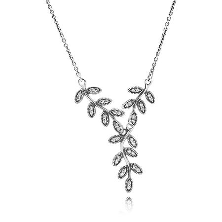 Sparkling Leaves Pendant Necklace, Clear CZ