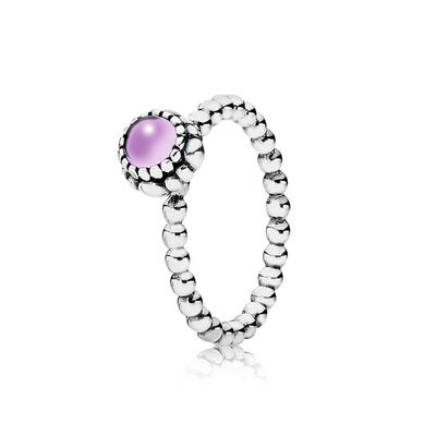 Birthday Blooms Stackable Ring, February, Amethyst