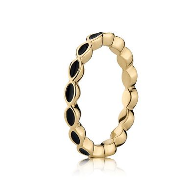 Royal Victorian Stackable Ring, Black & 14K Gold