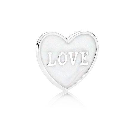 Love Heart Plate, Small, Silver Enamel