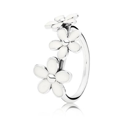 Darling Daisies Stackable Ring, White Enamel