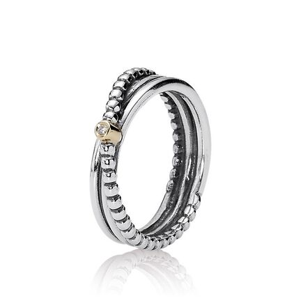 Silver ring, 14K, 0.01ct