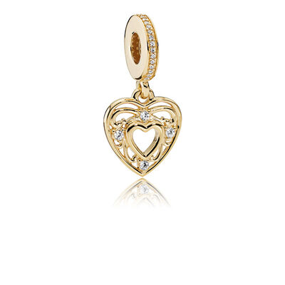 Romantic Heart, 14K Gold & Clear CZ
