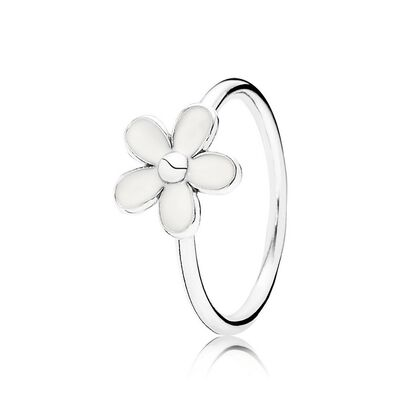 Darling Daisy Stackable Ring, White Enamel