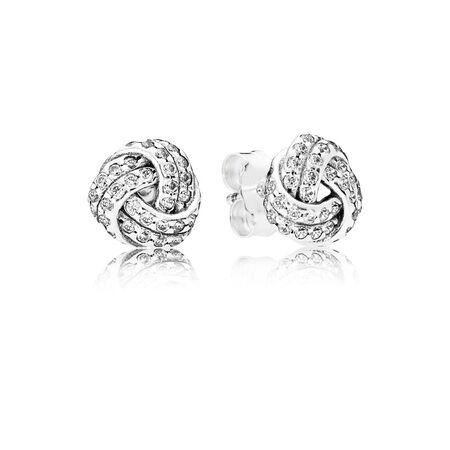 Sparkling Love Knots Stud Earrings, Clear CZ