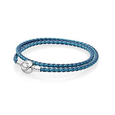 Mixed Blue Woven Double-Leather Charm Bracelet