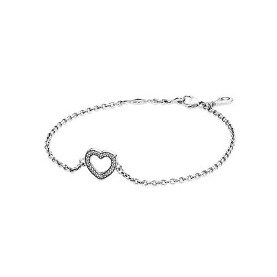Symbol of Love Bracelet, Clear CZ