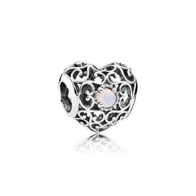October Signature Heart, Opalescent Pink Crystal