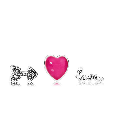 Love Feelings Petites, Magenta Enamel & Clear CZ