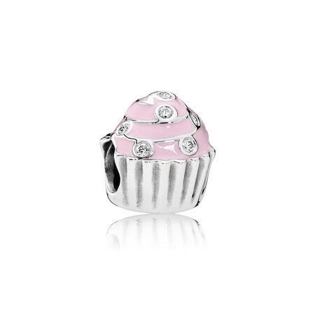 Sweet Cupcake, Light Pink Enamel & Clear CZ
