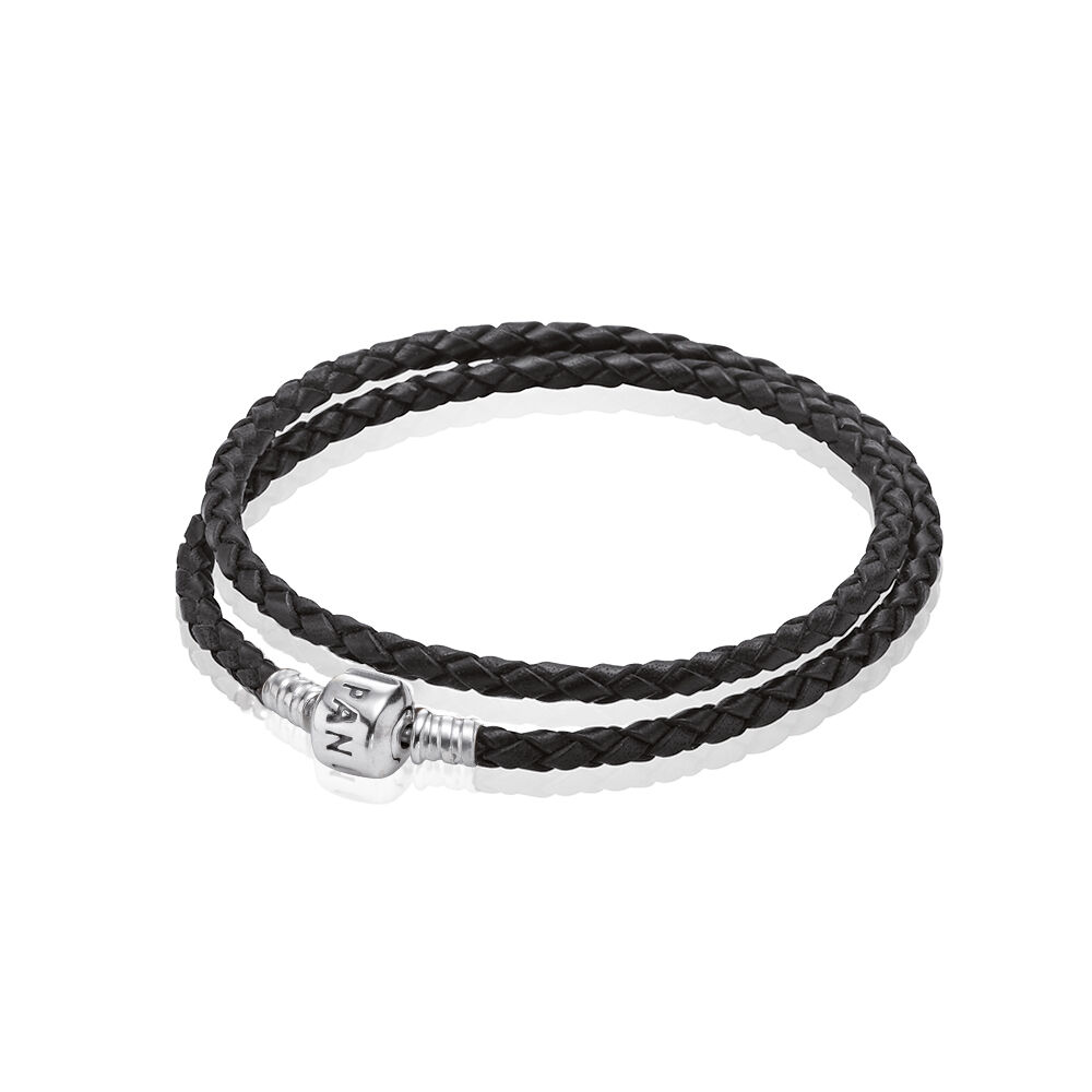 Leather Bracelet With Charms: Black Braided Double-Leather Charm Bracelet