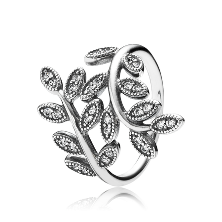 Sparkling Leaves Ring, Clear CZ