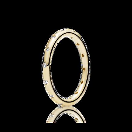 Droplets Stackable Ring, Polished 14K Gold & CZ