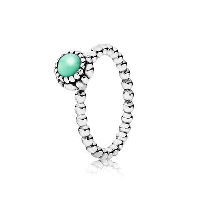 Silver ring, birthstone-May, chrysoprase