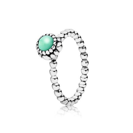 Birthday Blooms Stackable Ring, May, Chrysoprase