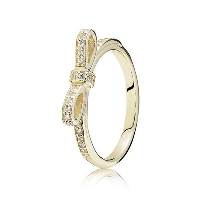 Sparkling Bow Stackable Ring, Clear CZ & 14K Gold