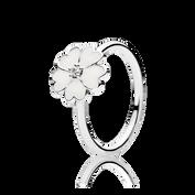 Primrose Stackable Ring, White Enamel