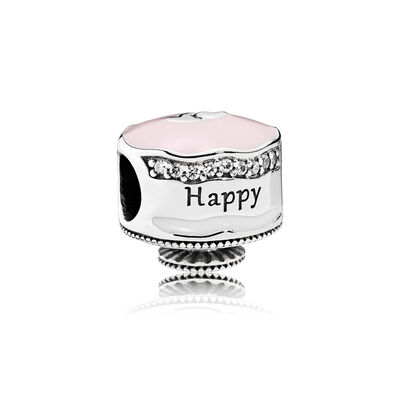 Happy Birthday Cake, Mixed Enamel & Clear CZ