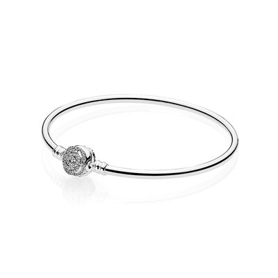 Disney, Beauty & The Beast Bangle, Clear CZ