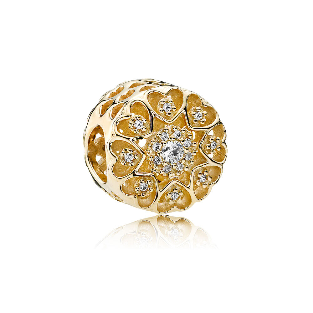 hearts of gold clear cz 14k gold pandora jewelry us