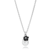 Mystic Floral Pendant Necklace, White Pearl