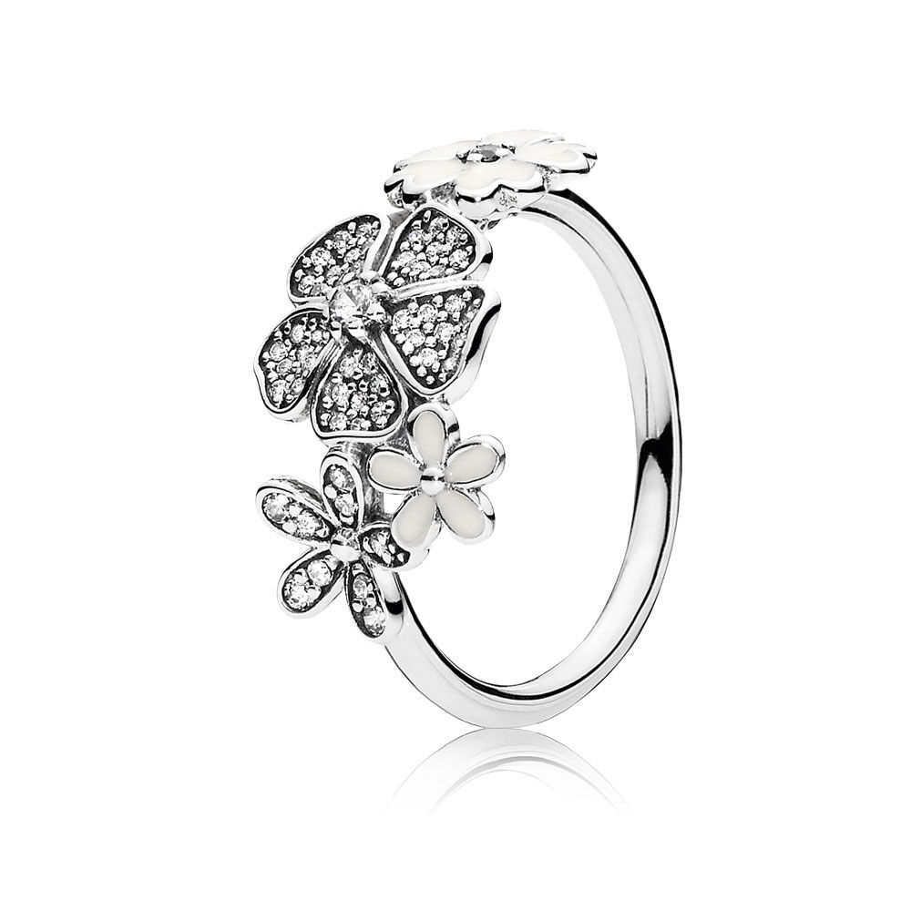 shimmering bouquet white enamel clear cz pandora jewelr. Black Bedroom Furniture Sets. Home Design Ideas