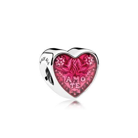 Latin Love Heart, Transparent Cerise Enamel