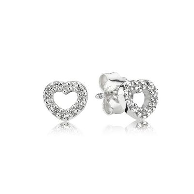 Be My Valentine Heart Stud Earrings, Clear CZ