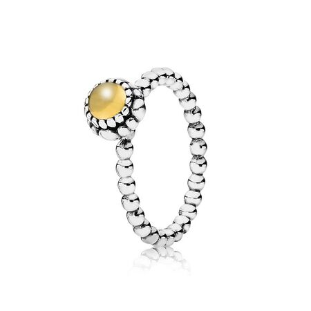 Birthday Blooms Stackable Ring, November, Citrine