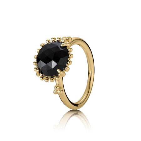 Shining Star Stackable Ring, Black Spinel