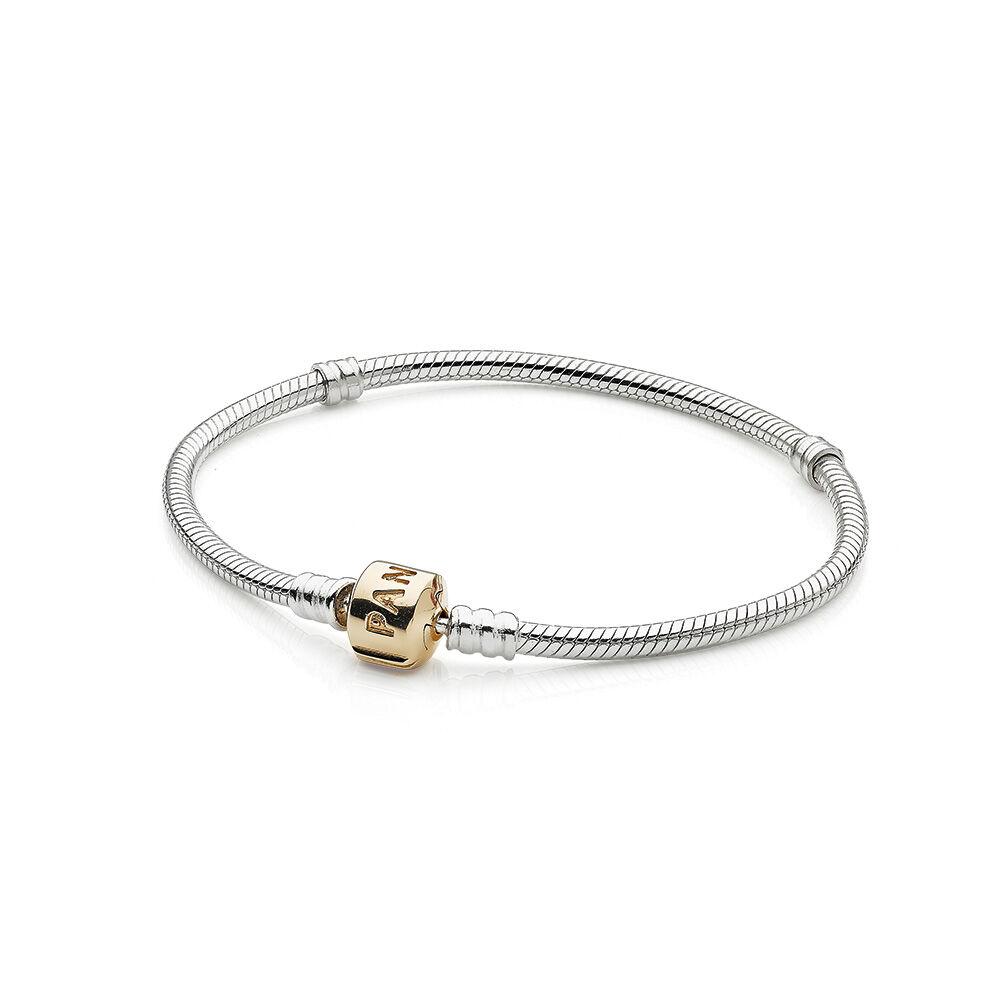 silver charm bracelet with 14k gold clasp pandora jewelry