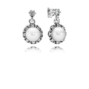 Everlasting Grace Earrings, White Pearl & Clear CZ