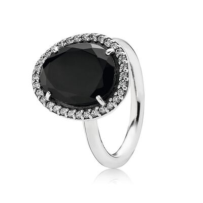 Silver ring with black spinel and cubic zirconia
