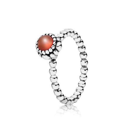 Silver ring, birthstone-July, carnelian