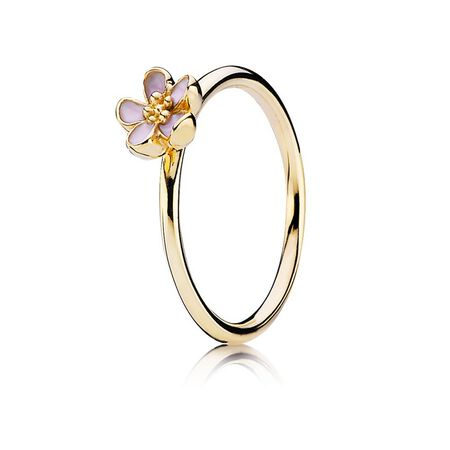 Gold ring with pink enamel