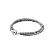 Silver-Grey Braided Double-Leather Charm Bracelet