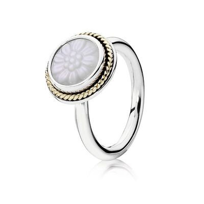 Daisy Signet Stackable Ring, Mother Of Pearl