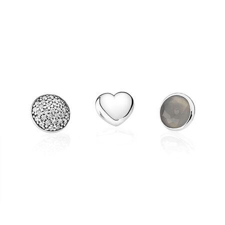 June Petites, Grey Moonstone & Clear CZ